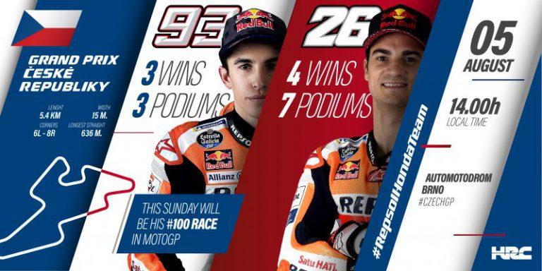 Repsol Honda Team heads to Brno with Marc Marquez reaching the 100 MotoGP race milestone